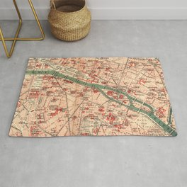 Vintage Map of Paris France (1910) Rug