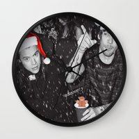 larry stylinson Wall Clocks featuring Larry Stylinson Funny Cookie Christmas B&W by girllarriealmighty