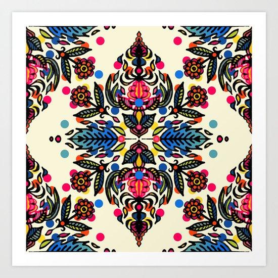 Bright Folk Art Pattern - hot pink, orange, blue & green Art Print