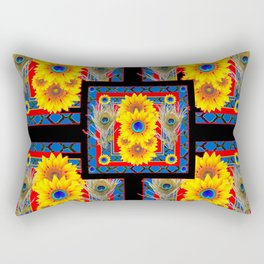 BLUE PEACOCK JEWELED SUNFLOWERS DECO ABSTRACT Rectangular Pillow