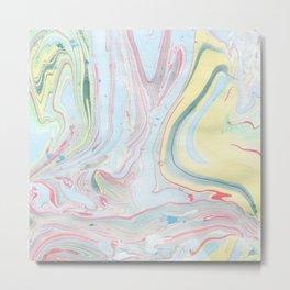 Fluid marble swirls watercolors Metal Print