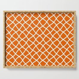 Bright orange and white curved grid pattern Serving Tray
