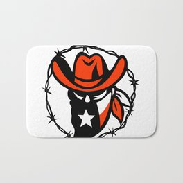 Texan Outlaw Texas Flag Barb Wire Icon Bath Mat