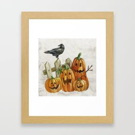 Pumpkins and Crow Framed Art Print