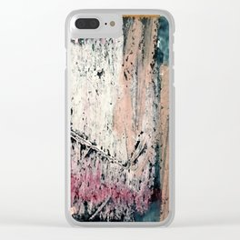 Kelly: a bold, textured, abstract mixed media piece in bright pinks, blues, and white Clear iPhone Case