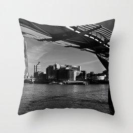 the Millenium Bridge London Throw Pillow