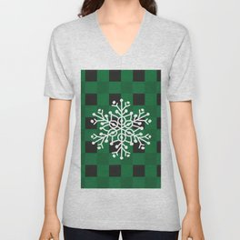 Happy Winter White Snowflake Merry Christmas With Green Plaid Unisex V-Neck