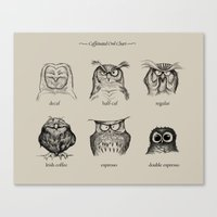 kitchen Canvas Prints featuring Caffeinated Owls by Dave Mottram