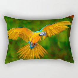 Flying Golden Blue Macaw Parrot Green  Art Rectangular Pillow