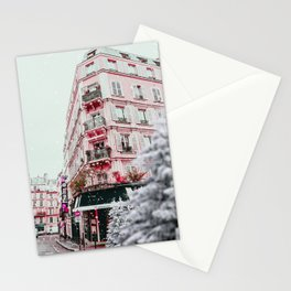 Winter in the City with Pink Building  Stationery Cards