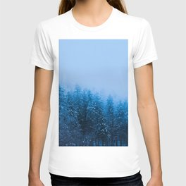 Fog over snow covered forest at lake Bohinj, Slovenia T-shirt