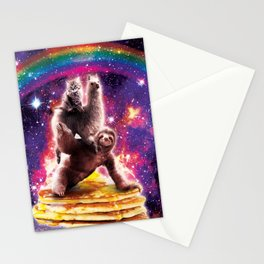 Space Cat Llama Sloth Riding Pancakes Stationery Cards
