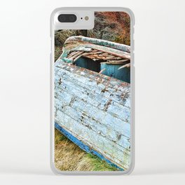 Old Boat in the field Clear iPhone Case