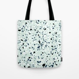 'Speckle Party' Navy Mint Black White Dots Speckle Terrazzo Pattern Tote Bag