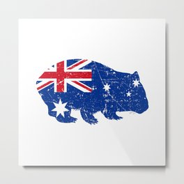 Wombat Australia Australian Flag Vintage Look Metal Print