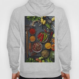 Fresh delicious ingredients for healthy cooking  on rustic background Hoody