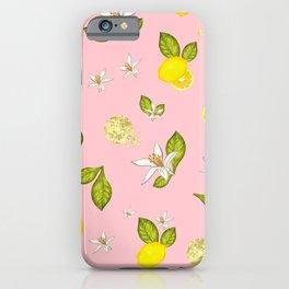 Lemon, lemon slice and leaves pattern pink background iPhone Case