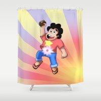 steven universe Shower Curtains featuring STEVEN UNIVERSE by DROIDMONKEY