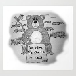 Sad bear 2 Art Print