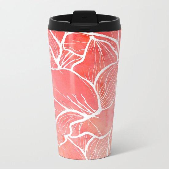 Modern white handdrawn flowers coral watercolor pattern Metal Travel Mug