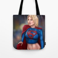 supergirl Tote Bags featuring Kara (Supergirl) by Chase Falkenhagen