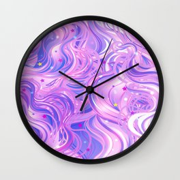 Pink & Purple Waves in the Stars Wall Clock