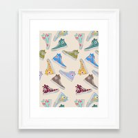 converse Framed Art Prints featuring Converse  by SarahBoltonIllustration