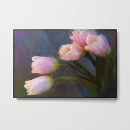 Pink Tulips on Paisley Background Metal Print