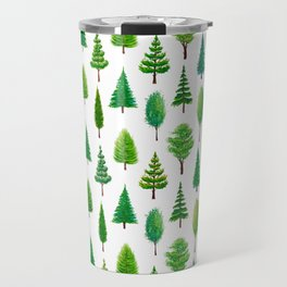 Branching Out - Evergreen Tree Forest on White Travel Mug