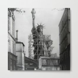 Piecing Together of the Architecture of the Statue Of Liberty In Paris, 1886 black and white photograph Metal Print