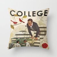 college Throw Pillows featuring Welcome to... College by Heather Landis