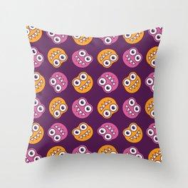Purple Pink And Orange Bugs Pattern Throw Pillow