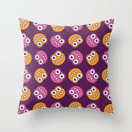 Purple Pink And Orange Bugs Pattern Throw Pillow