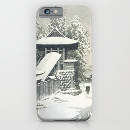 Hasui Kawase, Bell Tower, Mount Koya, Wakayama In Snow - Vintage Japanese Woodblock Print Art iPhone Case