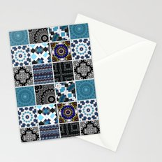 Patchwork . Blue , black and grey . Stationery Cards