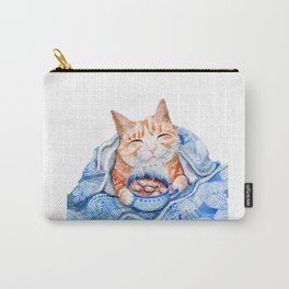 Happy Cat Drinking Hot Chocolate Carry-All Pouch
