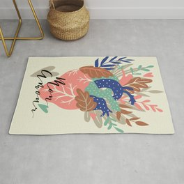 Love Heart Floral Calligraphy Rug