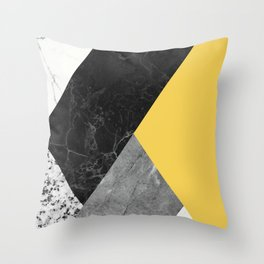 Black and White Marbles and Pantone Primrose Yellow Color Throw Pillow