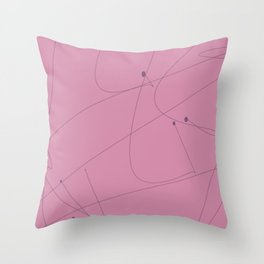 Squiggle line 1 - pink background and black squiggle Throw Pillow