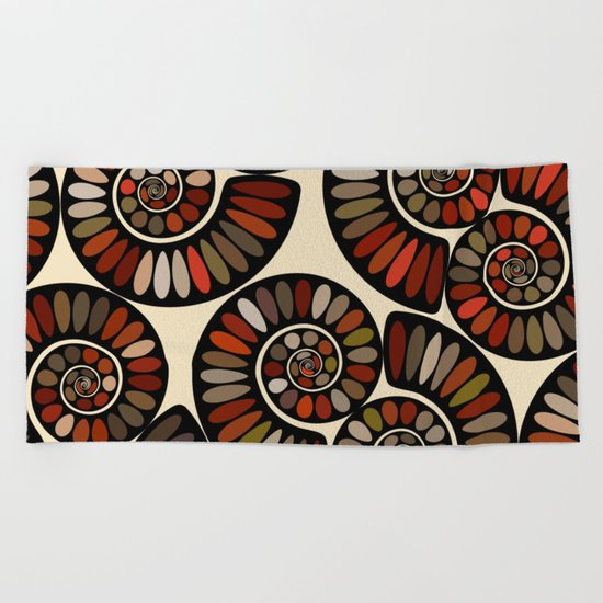 Spiral Tango-Black Beach Towel