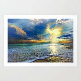Blue Seascape Art Print Gold Sunrays Sunset Art Print
