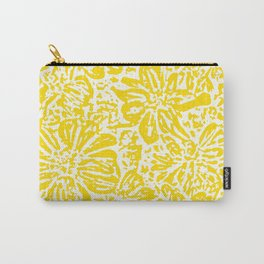 Marigold Lino Cut, Mustard Yellow Carry-All Pouch