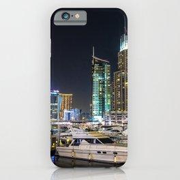 Dubai Emirates UAE ship Marinas powerboat night time Houses Cities Ships Pier Berth Night speedboat Motorboat Building iPhone Case