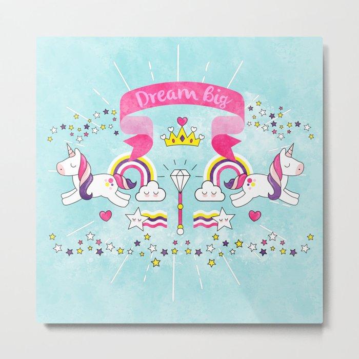 Dream Big Unicorn Carousel Metal Print