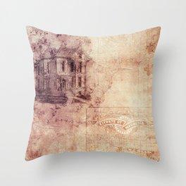 Old Antique Vintage Paper Texture Throw Pillow