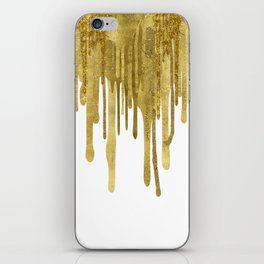 Gold paint drips iPhone Skin