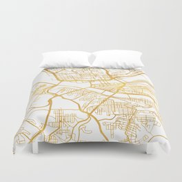 PITTSBURGH PENNSYLVANIA CITY STREET MAP ART Duvet Cover