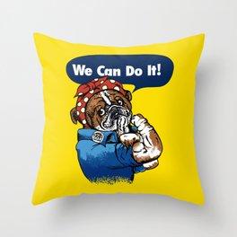 We Can Do It English Bulldog Throw Pillow