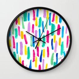 Just Enjoy colorful abstract painting lines pattern minimalism modern minimalist brushstrokes Wall Clock