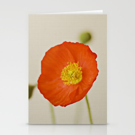 Poppy Flower Red Orange Yellow Bloom Stationery Cards